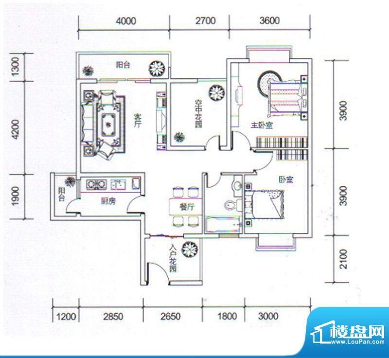 金玉丽都B2户型 2室面积:93.76平米