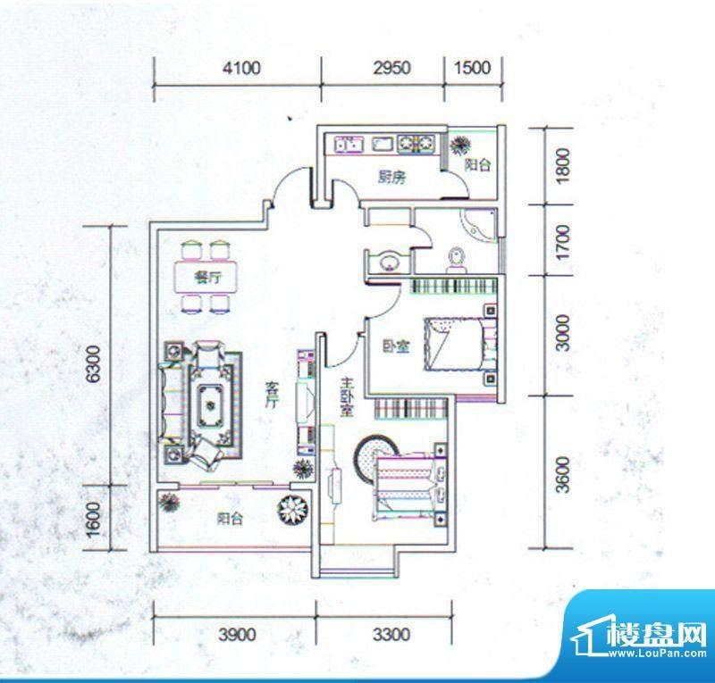 金玉丽都B1户型 2室面积:85.80平米