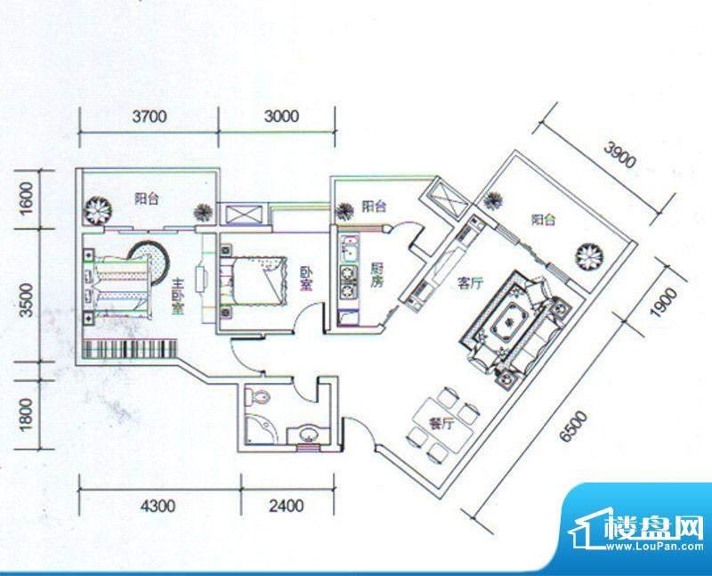金玉丽都A2户型 2室面积:86.28平米
