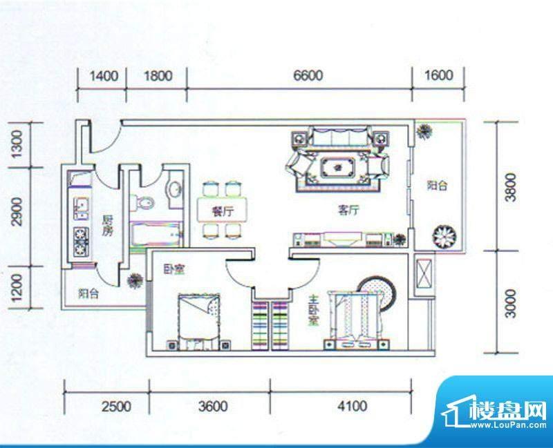 金玉丽都A1户型 2室面积:82.37平米