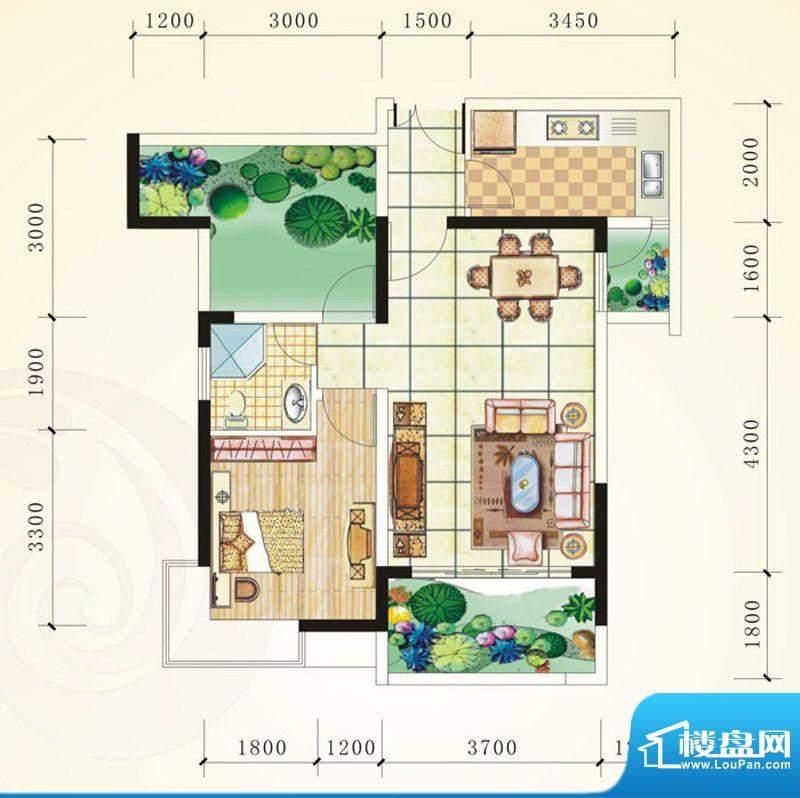 誉峰A 1室2厅1卫1厨面积:69.14平米