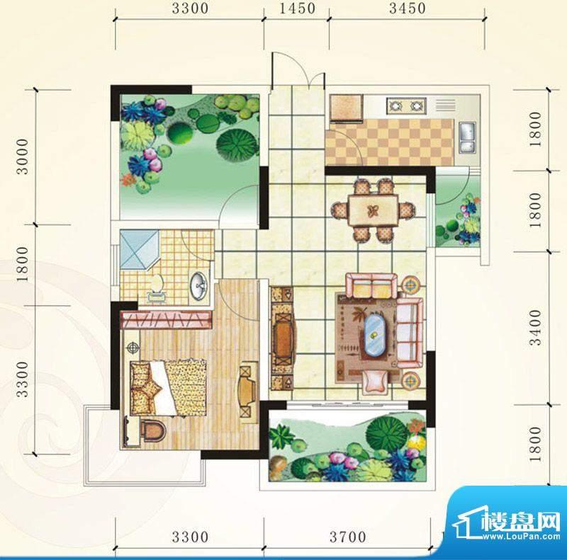 誉峰A1 1室2厅1卫1厨面积:67.53平米