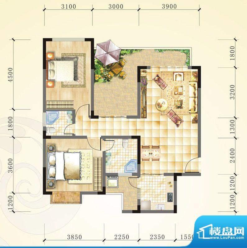 誉峰A3 2室2厅1卫1厨面积:100.78平米