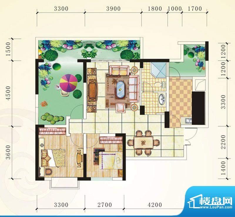 誉峰B 2室2厅1卫1厨面积:94.48平米