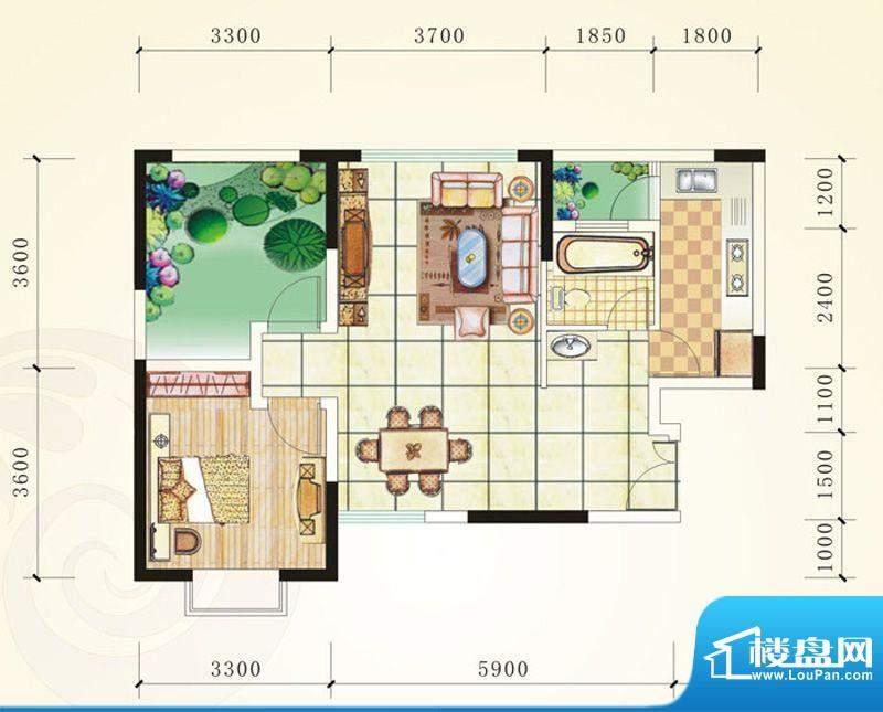 誉峰B1 1室2厅1卫1厨面积:73.25平米