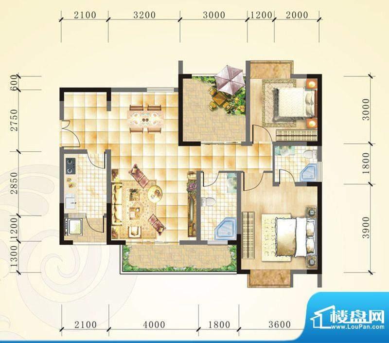 誉峰B2 2室2厅2卫1厨面积:102.88平米