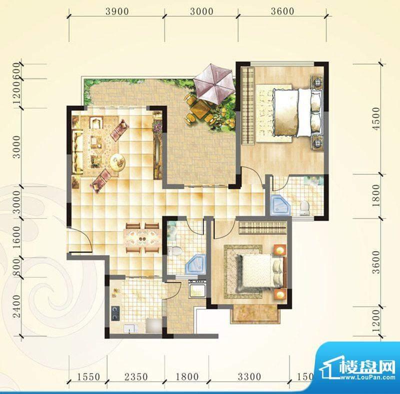誉峰B3 2室2厅2卫1厨面积:99.25平米