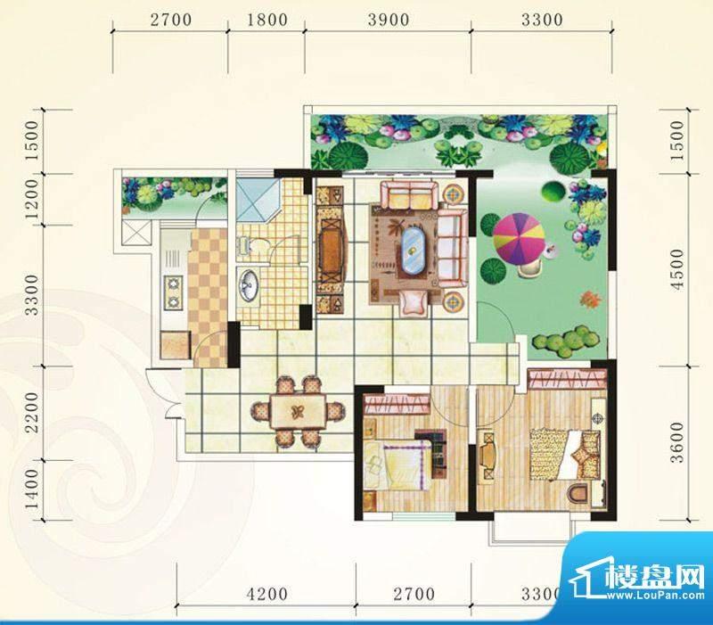誉峰C 2室2厅1卫1厨面积:93.57平米