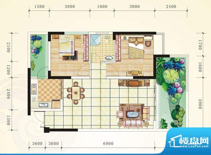 誉峰C1 2室2厅1卫1厨面积:86.51平米