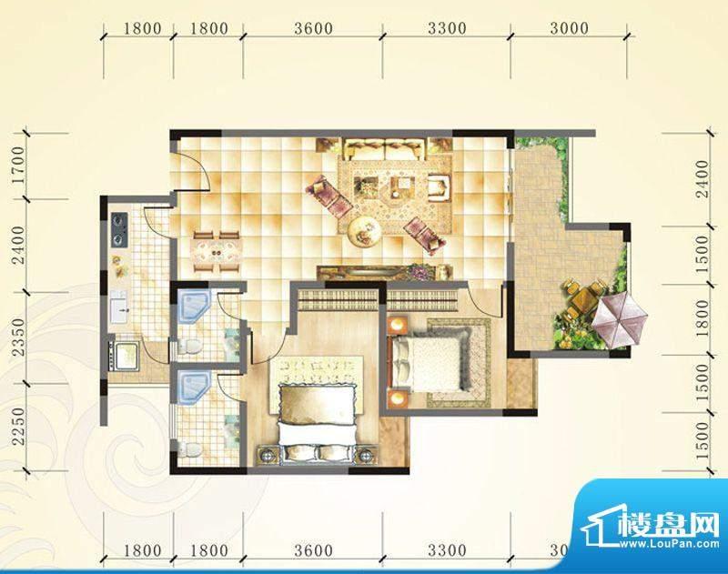 誉峰C2 2室2厅2卫1厨面积:99.62平米