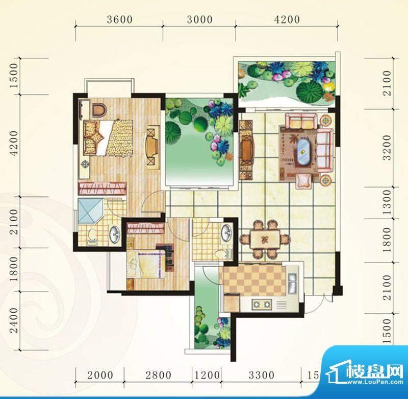 誉峰D 2室2厅2卫1厨面积:101.83平米