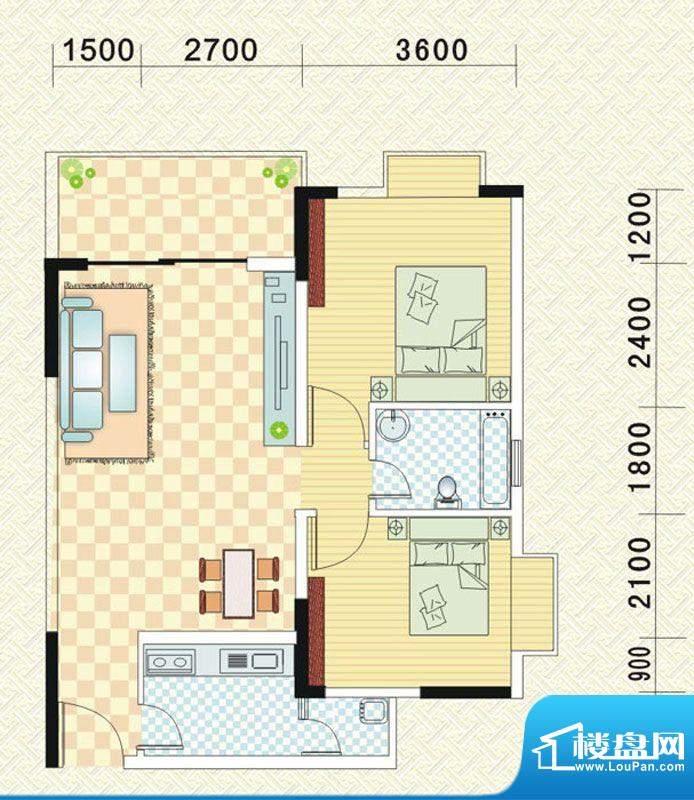 乾道时代天骄B 2室2面积:86.30平米