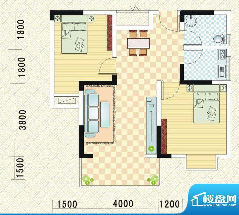 乾道时代天骄E 2室2面积:78.24平米
