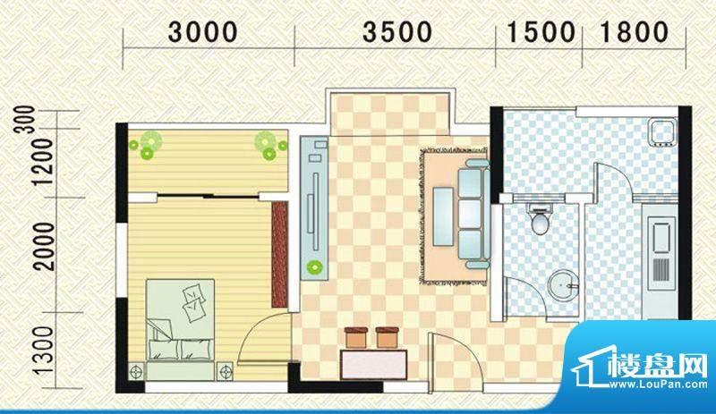 乾道时代天骄C 1室1面积:50.45平米