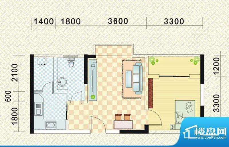 乾道时代天骄F 1室1面积:51.53平米