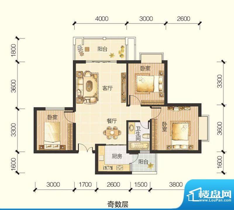 龙川半岛A-07单元三面积:90.91平米