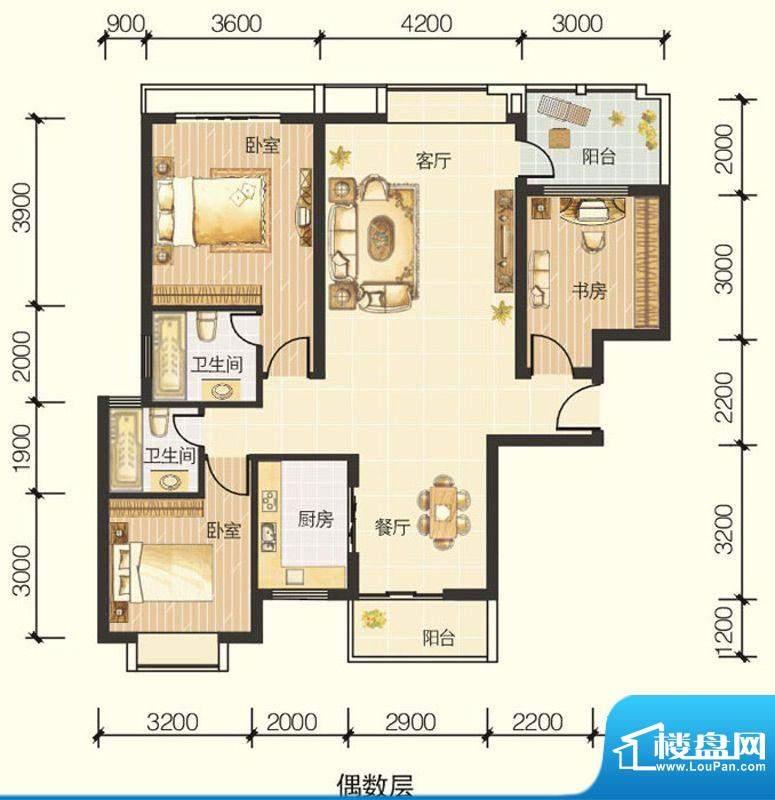 龙川半岛A-02单元三面积:119.99平米