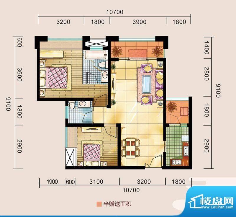 金源利中央华城C户型面积:83.22平米
