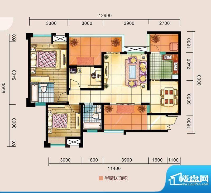 金源利中央华城E户型面积:102.40平米
