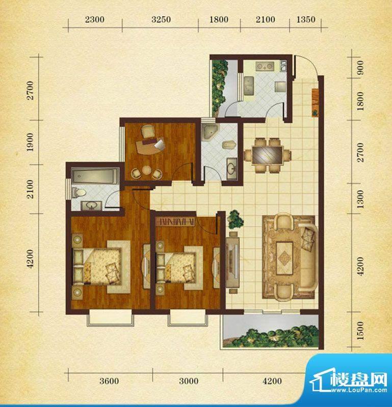 相如公园1号F2 3室2面积:107.73平米