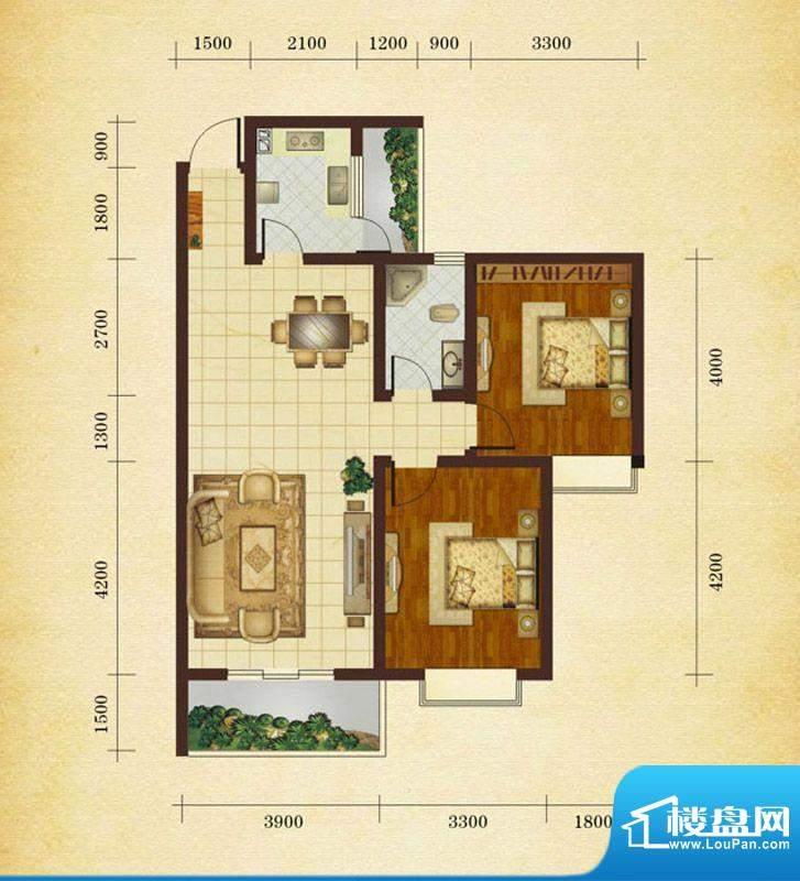 相如公园1号F3 2室2面积:87.57平米
