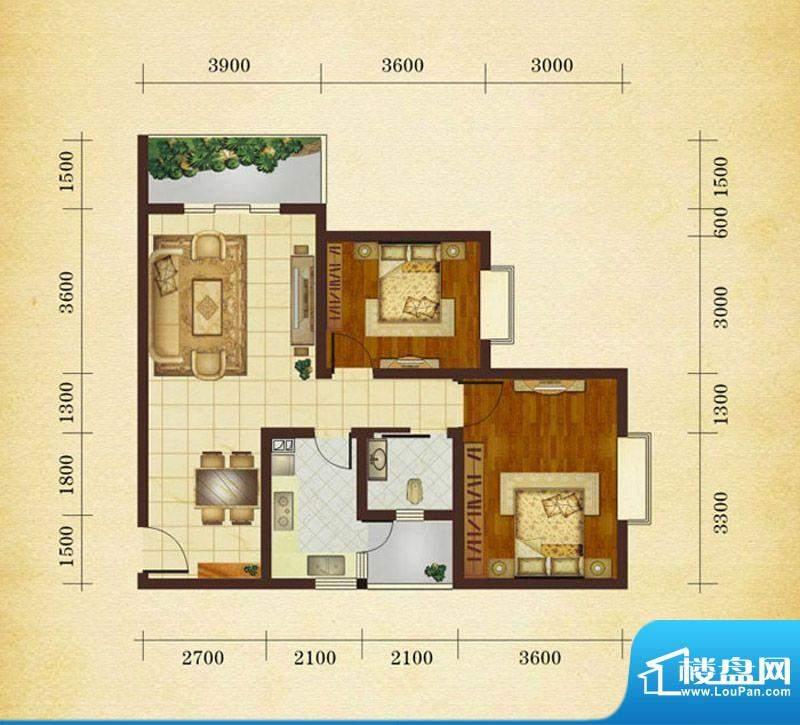 相如公园1号F4 2室2面积:82.68平米