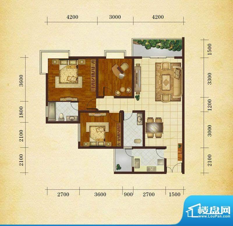 相如公园1号H1 3室2面积:112.98平米