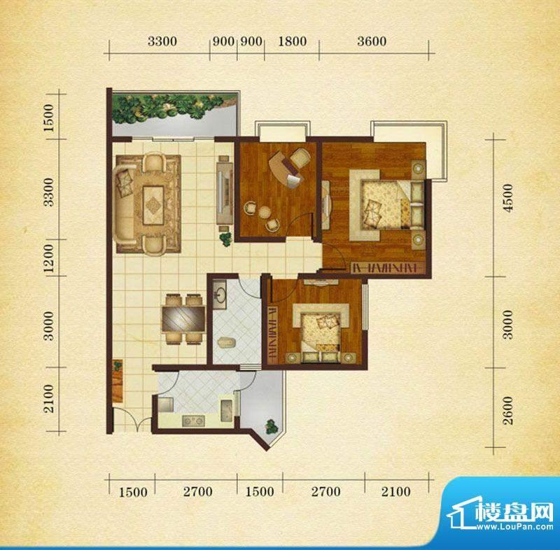相如公园1号H2 3室2面积:104.60平米