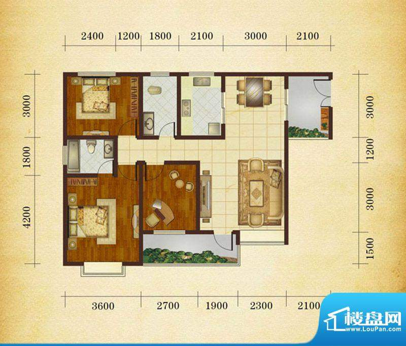 相如公园1号H3 3室2面积:109.80平米
