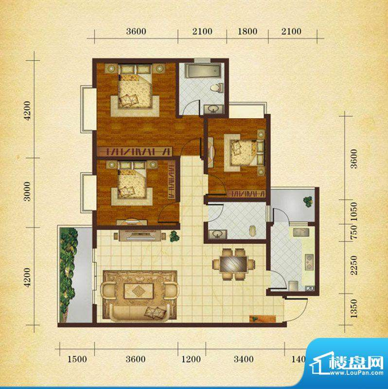 相如公园1号J1 3室2面积:112.96平米