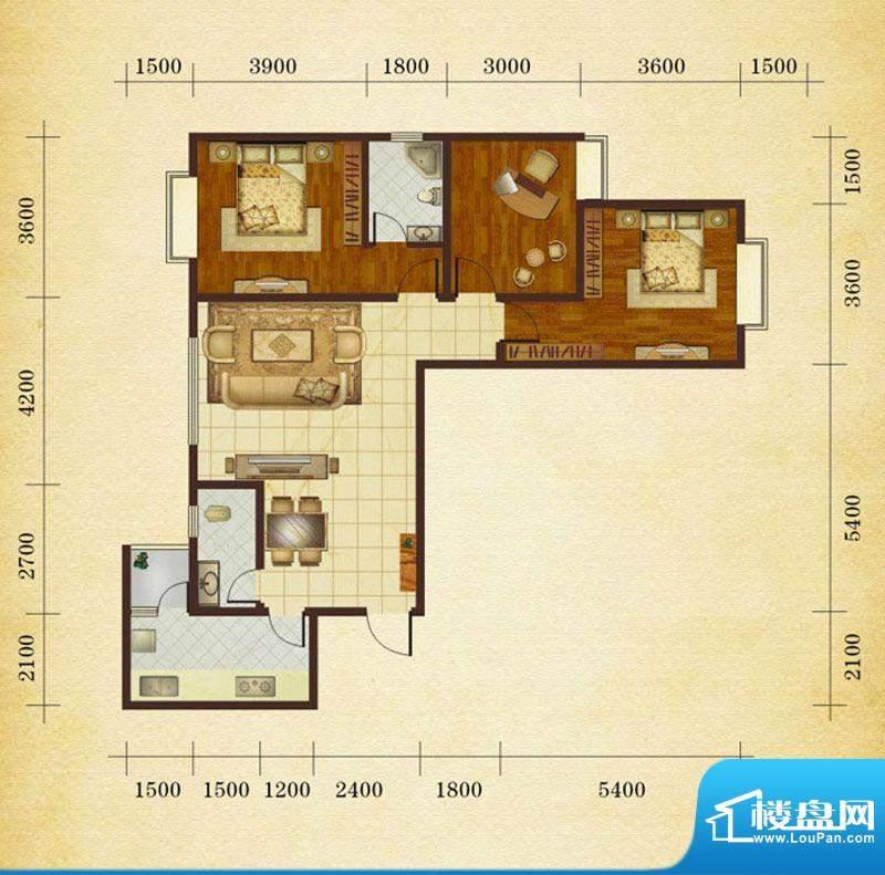 相如公园1号J2 3室2面积:114.23平米