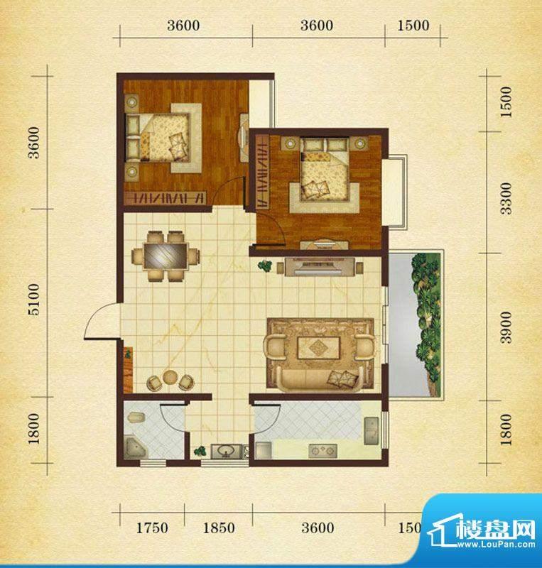 相如公园1号J3 2室2面积:84.68平米