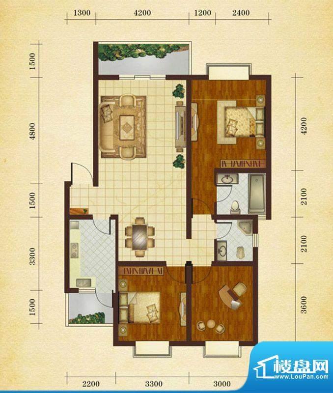 相如公园1号A 3室2厅面积:109.96平米