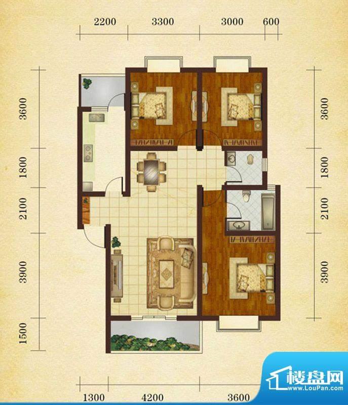 相如公园1号A1 3室2面积:106.43平米