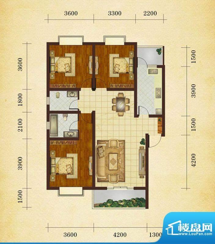 相如公园1号A1' 3室面积:110.02平米