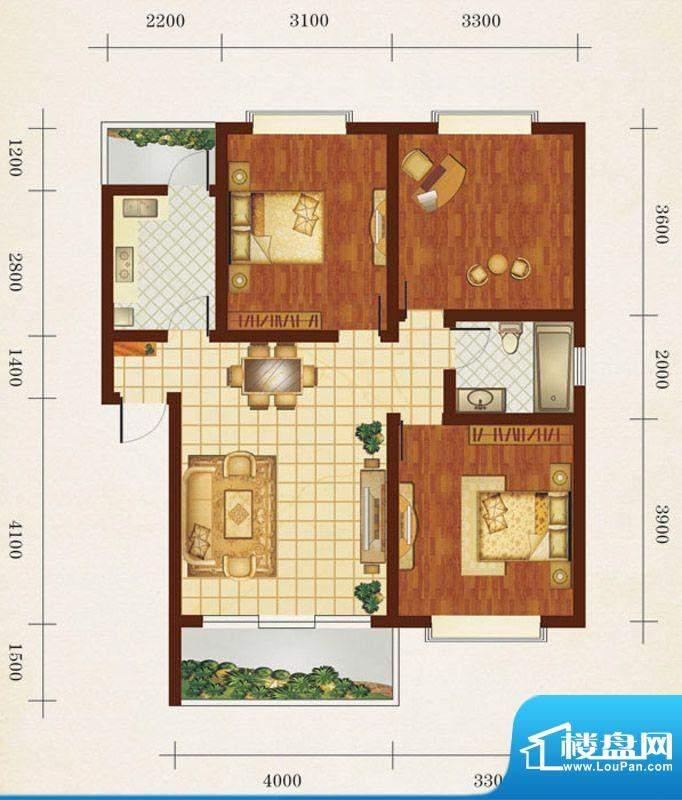 相如公园1号D 3室2厅面积:86.63平米