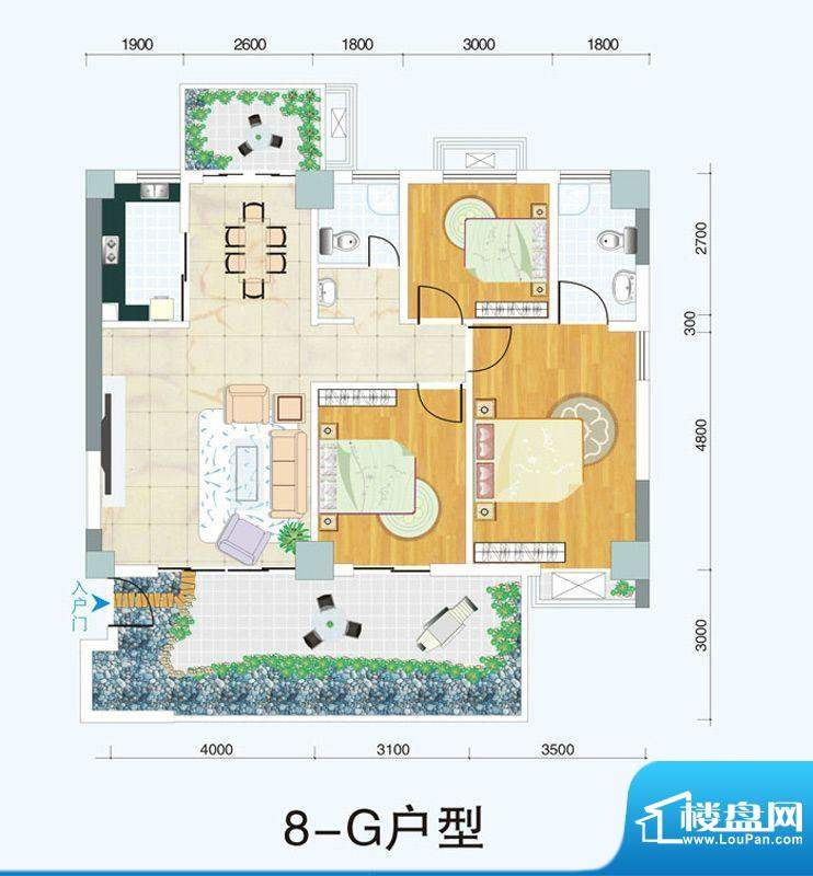 天府明珠8-G户型三室面积:0.00平米