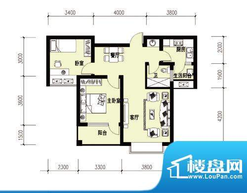 胜宏尚郡B-2户型 副面积:0.00m平米