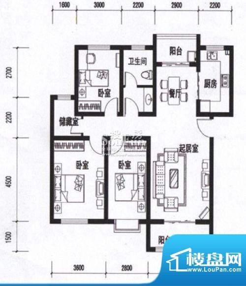 海通时代康桥三室两面积:0.00m平米