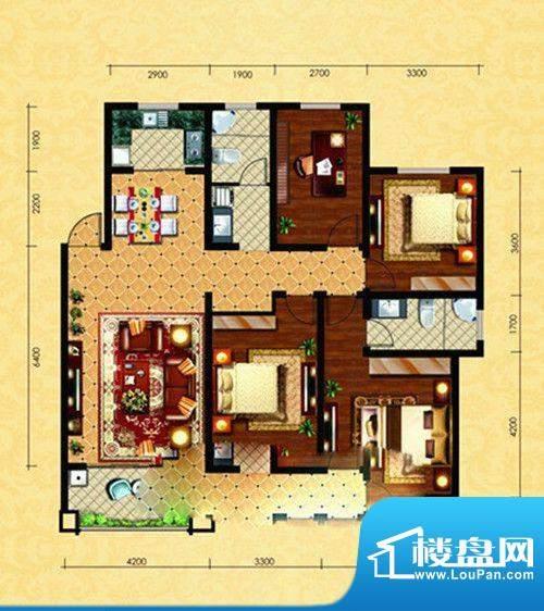 观澜逸品D1户型 4室面积:130.68m平米