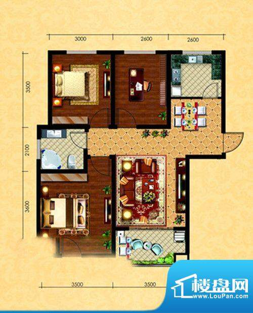 观澜逸品G1户型 3室面积:89.32m平米