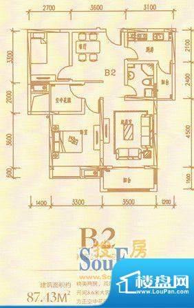 龙熙国际B2两室二厅面积:0.00m平米