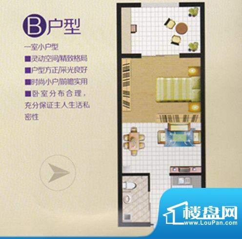 旺龙公馆B户型一室小面积:38.00m平米