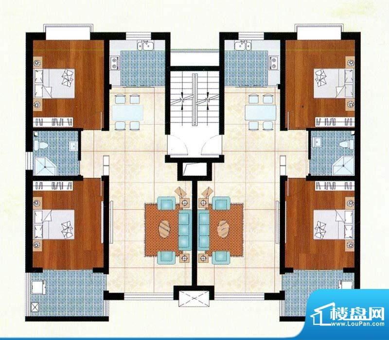 富贵名苑A户型 2室2面积:101.00m平米
