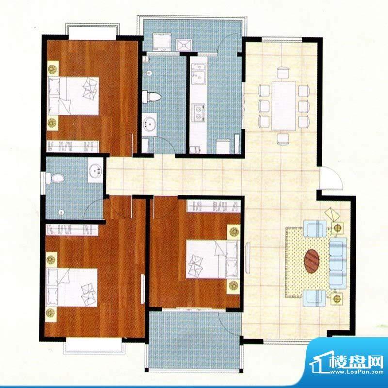 富贵名苑C户型 3室2面积:140.00m平米