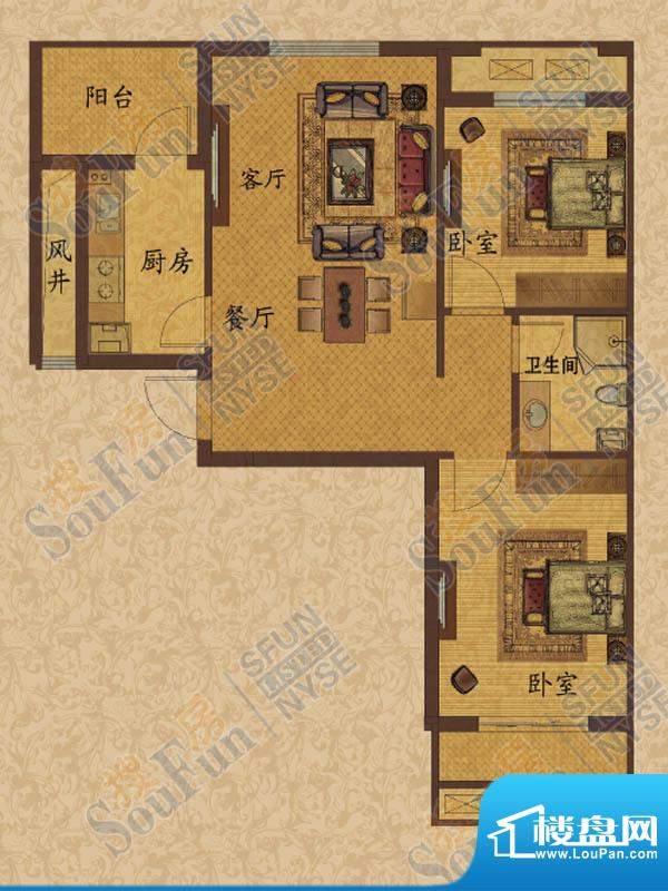 华都·金色兰庭A1户面积:87.69m平米