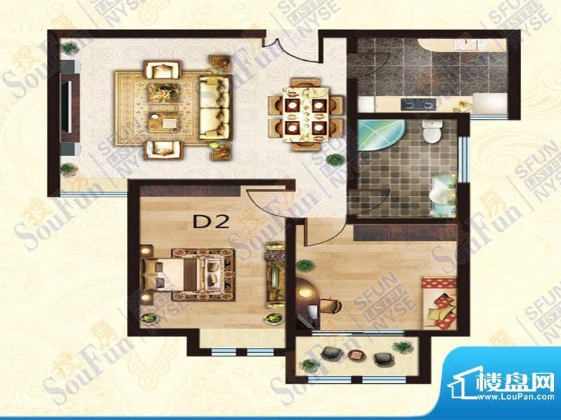 豪庭御都D2户型 2室面积:86.00m平米