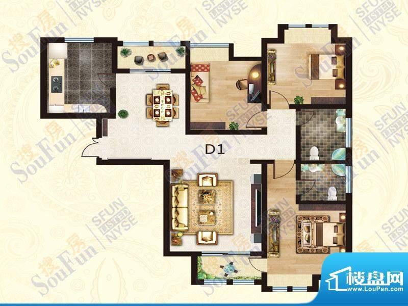 豪庭御都D1户型 3室面积:148.00m平米