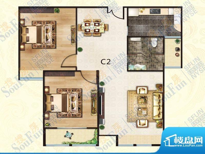 豪庭御都C2户型 2室面积:90.00m平米