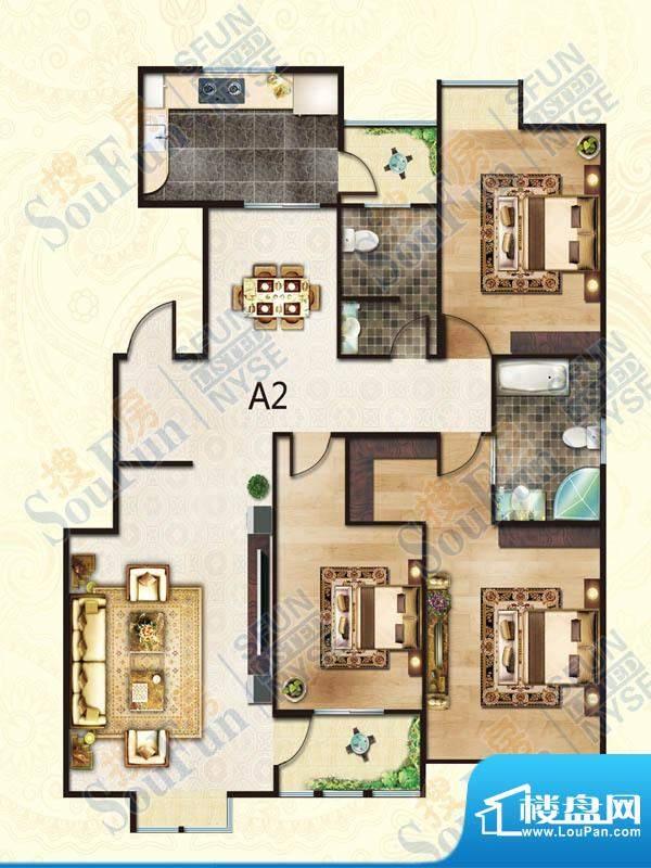 豪庭御都A2户型 3室面积:138.00m平米
